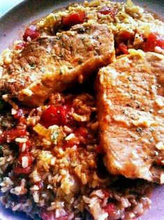 """Pork Chop and Brown Rice Skillet Dinner! """"Super simple! Simply delicious! :-) A favorite!""""  @allthecooks #recipe"""