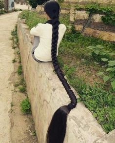 It's like real life Rapunzel Long Black Hair, Very Long Hair, Straight Hairstyles, Cool Hairstyles, Wedding Hairstyles, Thick Braid, Natural Hair Styles, Long Hair Styles, Braids For Long Hair
