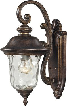 This Classic Outdoor Design Incorporates A Beautifully Detailed Backplate And Timeless Arching Arm That Holds A Flowing, Blown Water Glass Body. Constructed Of Durable Cast Aluminum And Finished In Re