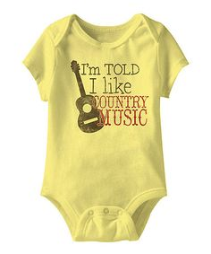 Loving this Banana 'I Like Country Music' Bodysuit - Infant on #zulily! #zulilyfinds
