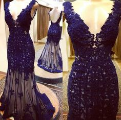 Royal Blue Lace Prom Dress,Deep V-Neck Evening Dress,Sexy Backless V-Back Party Gown,Mermaid Prom Dress,See through prom dress with lace
