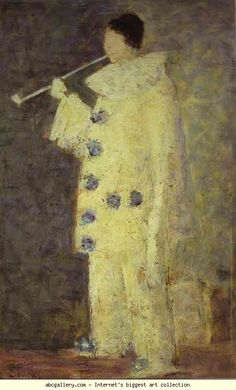 Georges Seurat- Pierrot With a White Pipe
