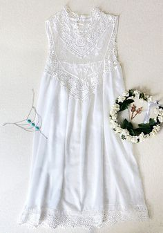 Lace Chiffon Mini Dress in White. Omg so cute. Love it. Discover and shop the latest women fashion, celebrity, street style you love on https://www.zkkoo.com