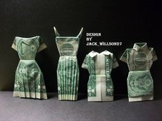 UP FOR SALE $1 BEAUTIFUL HANDCRAFTED MONEY ORIGAMI DRESSES MADE OF BRAND NEW US $1 BILLS.    It Makes a Great novelty gift for that special