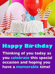 Send Free Fantastic Birthday Cake - Happy Birthday Card to Loved Ones on Birthday & Greeting Cards by Davia. It's free, and you also can use your own customized birthday calendar and birthday reminders. Happy Birthday 18th, Birthday Wishes For Son, 18th Birthday Cards, Birthday Wishes Messages, Birthday Reminder, Fabulous Birthday, Birthday Greeting Cards, Birthday Greetings, Birthday Hats