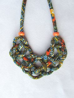 Decorative knotwax fabric print cordlong necklaceorange by nad205, $29.00