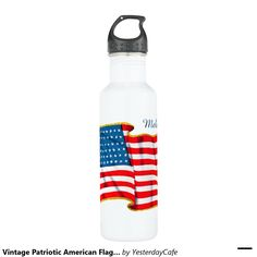 Easy to customize 24oz water bottle. Just add your name! Vintage illustration proud patriotic Fourth of July holiday design featuring an American Flag, the stars and stripes. Show your patriotism and pride for the United States of America with a symbol of freedom and our great nation. Perfect for celebrating our heroes on Veteran's Day, Memorial Day or Independence Day the 4th of July.