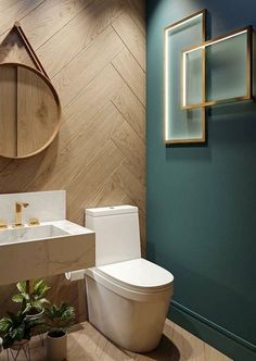 cool Combine touches of contemporary decor with more rustic elements to create a unique modern bathroom design. This dark green feature wall looks stunning against the wood effect wall tiles. Bad Inspiration, Bathroom Inspiration, Bathroom Ideas, Bathroom Organization, Bathroom Remodeling, Remodel Bathroom, Basement Bathroom, Master Bathrooms, Bathroom Mirrors