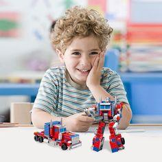 Kids Boys DIY Transformer Optimus Prime Educational Toys Building Blocks Bricks #Unbranded