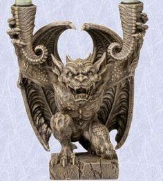 Gothic Candlestick Medieval Sculpture European Gargoyle