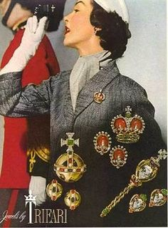 The Coronation, crown and earrings set are marked TRIFARI with the crown.   The set can be seen in Brunialti's book, American Costume Jewelry on page