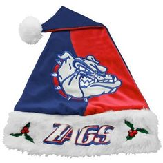 Gonzaga Bulldogs Navy Blue-Red Mistletoe Santa Hat