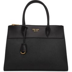Prada Black Saffiano Paradigm Tote (74 250 UAH) ❤ liked on Polyvore featuring bags, handbags, tote bags, black, tote purses, snap key ring, handbags totes, prada and prada tote