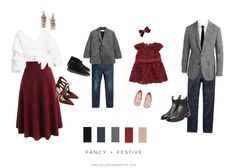 Christmas Festive Holiday Outfit ideas for Family Photos Outfit inspiration and outfit ideas for family holiday photos as well as color schemes and clothing pieces for mom, dad and kids for Christmas photos. Fall Family Picture Outfits, Family Christmas Outfits, Christmas Pictures Outfits, Family Photo Colors, Family Portrait Outfits, Family Photos What To Wear, Family Christmas Pictures, Family Outfits, Holiday Outfits