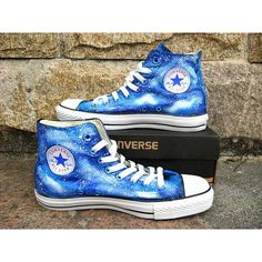 blue galaxy Custom Converse shoes canvas shoes hand painted shoes... (£50) ❤ liked on Polyvore featuring shoes, water proof shoes, converse footwear, blue high tops, blue high top shoes e high top shoes