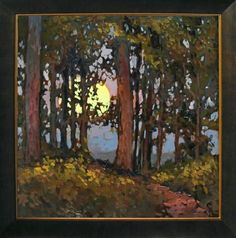 "Jan Schmuckal - Tonalist Impressionist Artist - ""Deep Woods Moonrise"" - Oil On Board"