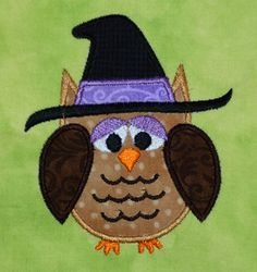 Halloween Fall Owl with witch hat  applique machine embroidery design 4x4 hoop OR 5x7 hoop