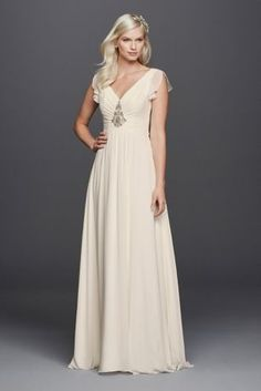 Define elegance in this whimsical chiffon wedding dress with flutter sleeves. The combination of flutter sleeves, embellished bodice, and the light weight chiffon will make you feel like a goddess on your special day.  Wonder by Jenny Packham, exclusively at David's Bridal.  Also available in Plus Size. Check your local stores for availability.  Sweeptrain. Fully lined Zipper Back. Dry Clean only. Cherish your wedding dress forever with our Gown Preservation Kit.