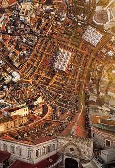 """Photographer Aydin Büyüktas' background in film and visual effects really shows in """"Flatland"""", a cinematic series of drone footage digitally manipulated to create shots of Istanbul which seem to fold over on themselves. Büyüktas must have loved Inception. City Landscape, Urban Landscape, Film Inception, Fotografia Drone, Roadtrip Europa, Istanbul City, Istanbul Turkey, Istanbul Travel, Hieronymus Bosch"""