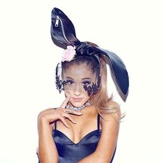 Ariana Grande wearing custom bunny ears