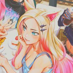 Champions League Of Legends, League Of Legends Characters, Lol League Of Legends, Kawaii Anime Girl, Anime Art Girl, Ahri Wallpaper, Character Art, Character Design, Ahri League