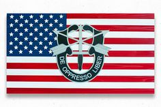 """Flag sizes available: 36x20"""" 50x27"""" Custom sizes available upon request. This flag includes the Special Forces Crest on top of the American flag. The national flag of the USA, often referred to as the"""
