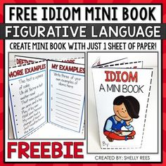 Looking for a different way to help your students learn and master idioms? This FREE Idiom Foldable Mini Book is fun and easy to use! You will love the ease of prep and your students will enjoy creating and completing their booklet! This FREEBIE is part of the complete set of Figurative Language Min...