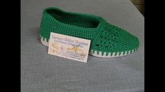 Crosetam espadrile verzi cu model - YouTube