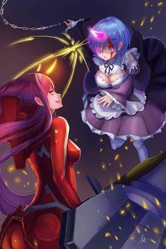 Darling in the Franxx x Re:Zero Kara Hajimeru Isekai Seikatsu Zero Two, Re Zero, Kawaii Chibi, Kawaii Anime, Ecchi Neko, Cool Anime Pictures, Anime Crossover, Anime People, Darling In The Franxx
