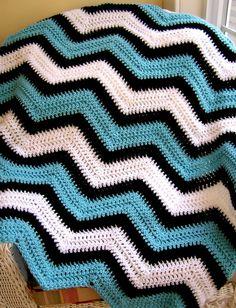 nova ziguezague cobertor do bebê chevron envoltório afghan crochet colo malha robe cadeira de rodas listras ondulação leão Vanna White fio azul preto handmade EUA