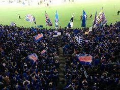 Montedio Yamagata supporters at Ajinomoto Stadium. Yamagata won the J. League promotion playoff final. 12/7/2014
