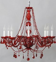 Deep red bohemian / gypsy style Murano glass chandelier.