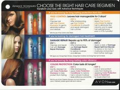 Hair care  ~ choose the right hair care regimen for you..with Avon advance techniques all shampoo on sale contact me or visit www.youravon.com/tammynorton