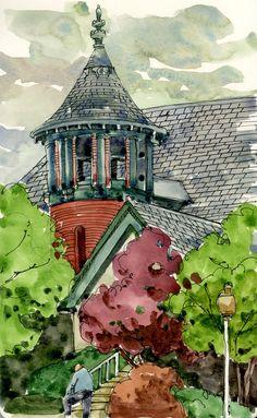 """Man Resting"" - by Shari Blaukopf Watercolor Architecture, Watercolor Landscape, Watercolor And Ink, Watercolour Painting, Watercolours, Watercolor Sketchbook, Art Sketchbook, Watercolor Illustration, Oil Painting App"