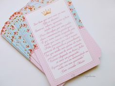 Cartão agradecimento Chá de Bebê Princesa Floral azul e Rosa
