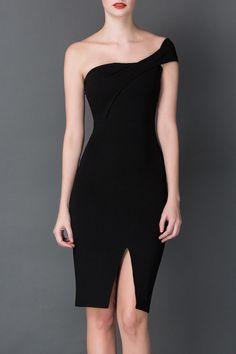 Cys Black Strapless Slit Bodycon Dress | Knee Length Dresses at DEZZAL