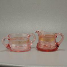 Pink Depression Glass Sugar Creamer Set Vintage