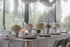 We created a beautiful wedding styling using only white hydrangeas, candles and linen. This created the perfect romantic style for a summer wedding reception. Wedding Shoot, Wedding Reception, Summer Wedding, Dream Wedding, White Hydrangeas, Bridal Table, Large Candles, Romantic Look, White Fabrics