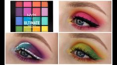 I've been getting quite a few requests to use the NYX Ultimate Brights palette more over the last few months and I decided to make a 3 looks, 1 pal. Nyx Brights Palette, Nyx Eyeshadow Palette, Nyx Palette, Bright Eyeshadow, Bright Eye Makeup, Colorful Eye Makeup, Eyeshadow Makeup, Nyx Lipstick, Eye Makeup Cut Crease