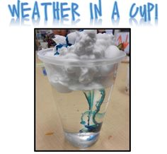 Science -- Weather: Fill the cup with water. Put shaving cream on top for a cloud. Explain that when clouds get really heavy with water, it rains! Then put blue food coloring on top of the cloud, and watch it rain. What a fun experiment for the kids! Kid Science, Kindergarten Science, Science Classroom, Science Fair, Teaching Science, Science Activities, Science Projects, Projects For Kids, Activities For Kids