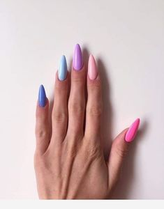 Pretty Multicolored Nail Art Designs For Spring and Summer 2019 rainbow nails, colorful nail art design, French manicure, Multicolored Nail Art Designs Gradient Nails, Rainbow Nails, Toe Nails, Coffin Nails, Shellac Nails, Nail Polishes, Galaxy Nails, Oval Nails, Gel Manicure