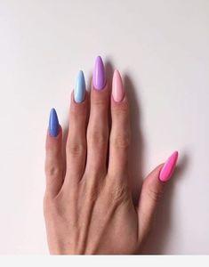 Pretty Multicolored Nail Art Designs For Spring and Summer 2019 rainbow nails, colorful nail art design, French manicure, Multicolored Nail Art Designs Gradient Nails, Rainbow Nails, Pastel Nails, Galaxy Nails, Solid Color Nails, Nail Colors, Cute Nails, My Nails, Shellac Nails