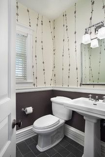 This would be the most cost effective, easiest way, just put in a chair rail and paint below wall paper.    Hyde Park Renovation - traditional - powder room - chicago - by Tom Stringer Design Partners