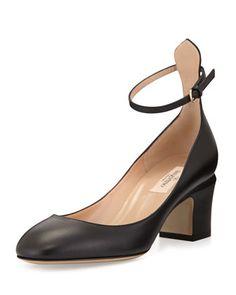 Tango Leather Ankle-Wrap Pump, Black by Valentino at Bergdorf Goodman.