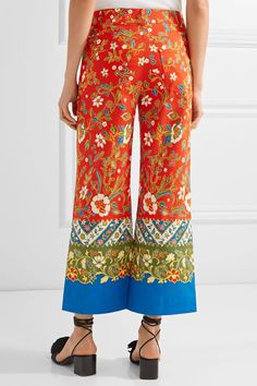 Tory Burch - Dayton Cropped Printed Cotton-blend Straight-leg Pants - Tomato red - US