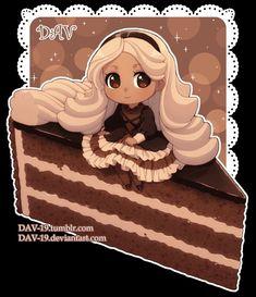 Food characters: Cake Prague by on DeviantArt. Chibi Manga, Naruto Chibi, Manga Kawaii, Cute Anime Chibi, Kawaii Chibi, Kawaii Anime Girl, Cute Food Drawings, Cute Kawaii Drawings, Chibi Poses