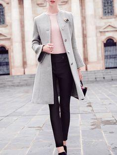 V Neck Simple Long Sleeve Plain Coat
