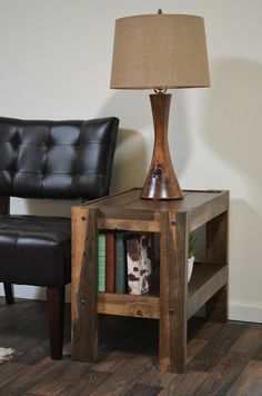 Reclaimed End Table  Pallet Wood & Barn Wood Style by WoodwavesInc,