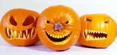 Need help with some last-minute pumpkin carving? This guide will show you 5 different jack-o'-lantern designs just in time for Halloween. In the video below, you'll see how to make pumpkin teeth and fangs, how to carve out eyes, a pumpkin mirror disco ball lantern, using a pumpkin stem as a nose, and table tennis (ping pong) ball pumpkins that light up! Video: . Be careful when using sharp knives. For more jack-o'-lantern ideas, check out my past guides on making a flaming pumpkin and…