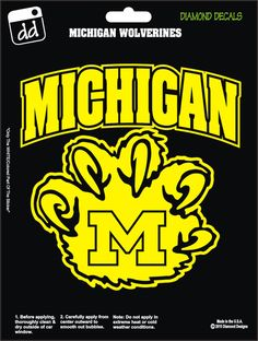 Michigan Wolverines Claw College Football Decal Vinyl Sticker Car Truck Laptop Phone Window by DiamondDecalz on Ebay